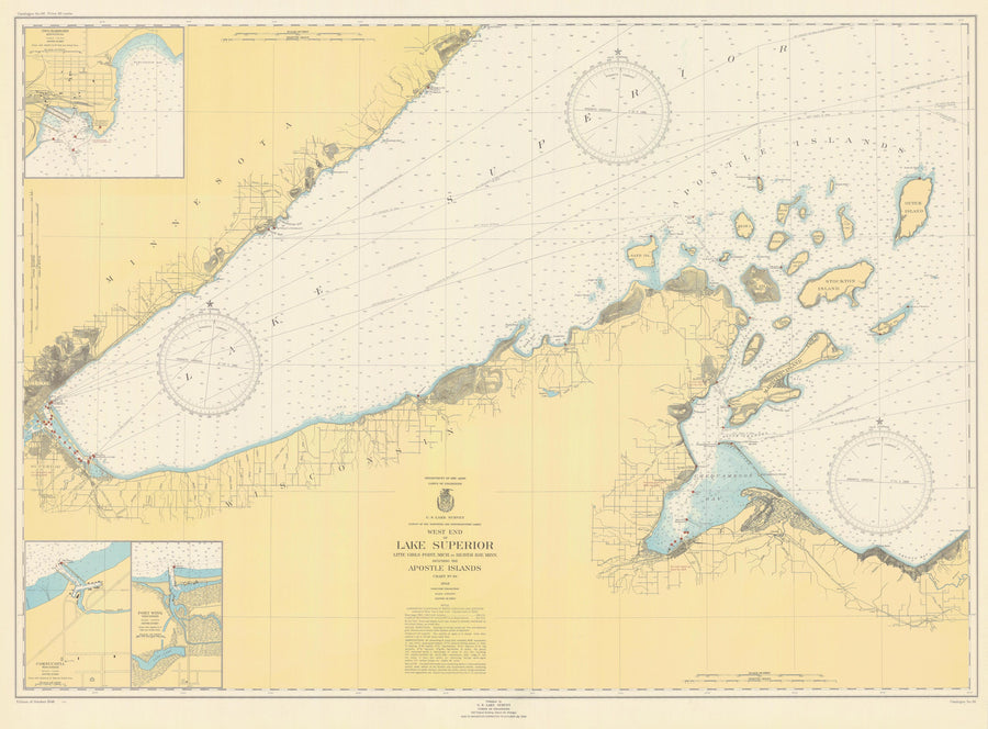 Lake Superior West End Map - 1948
