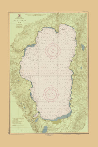 Lake Tahoe Map - 1951 (fun green with tan border)