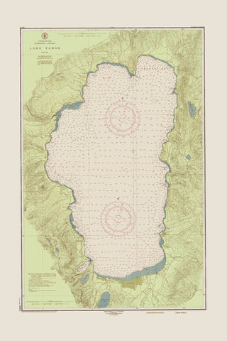 Lake Tahoe Historical Map - 1951 (fun green)
