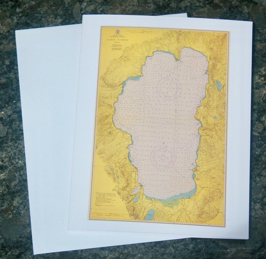 "Lake Tahoe Map Notecards 4.25""x5.5"""