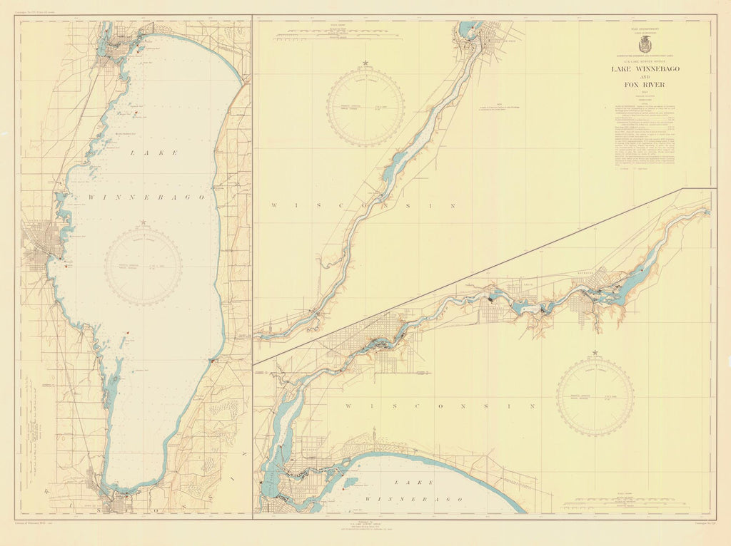 Lake Winnebago Historical Map 1945