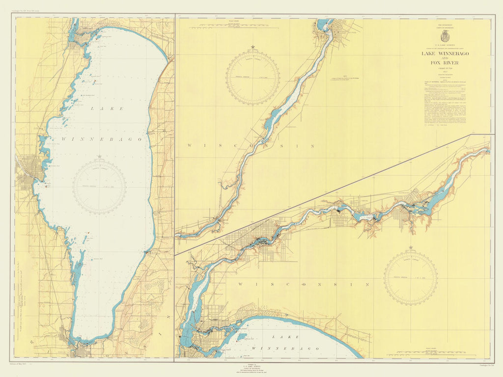 Lake Winnebago Historical Map 1947