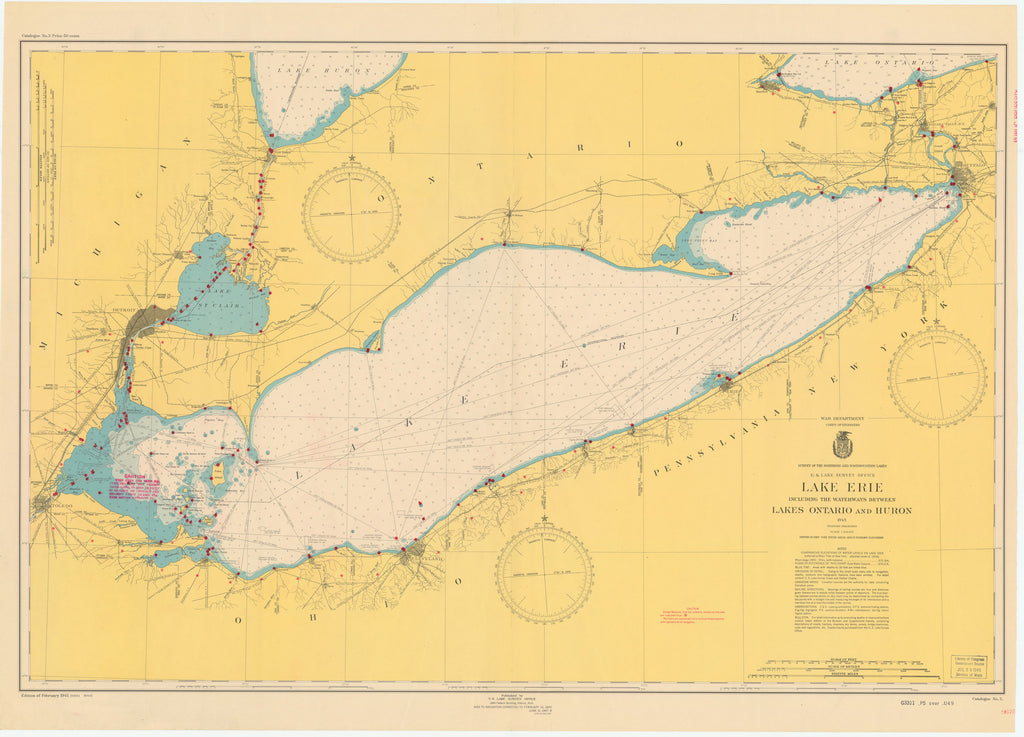 Lake Erie Historical Map - 1948