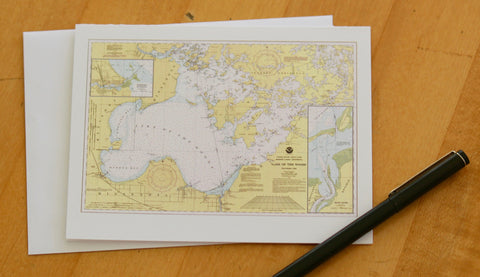 "Lake of the Woods Map Note Cards (1990) 4.25""x5.5"""