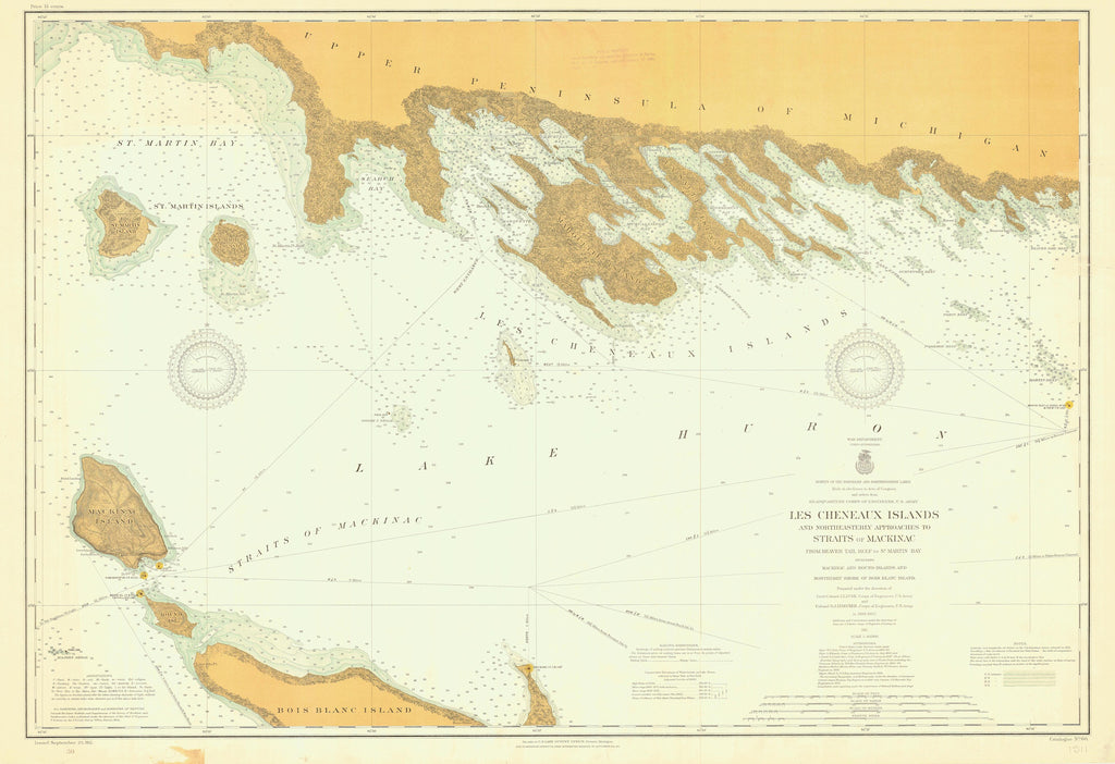 Les Cheneaux Islands (including Mackinac Island) Lake Huron Historical Map - 1911