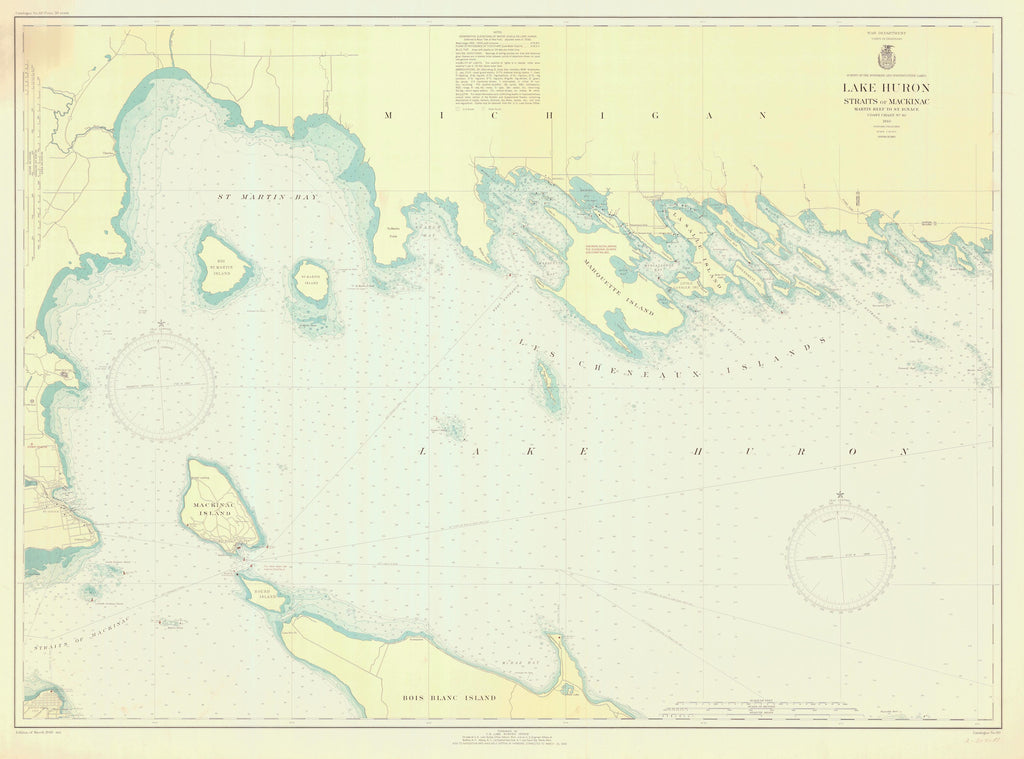 Les Cheneaux Islands (including Mackinac Island) Lake Huron Map - 1940