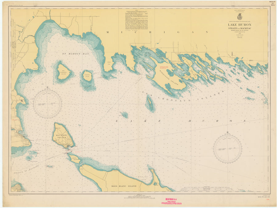 Les Cheneaux Islands (including Mackinac Island) Lake Huron Map - 1943