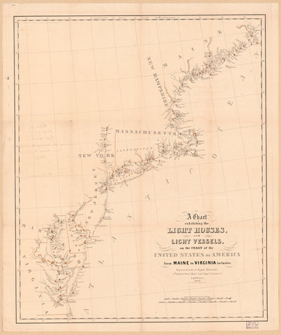 Light Houses and Light Vessels Map - Maine to Virginia - 1948