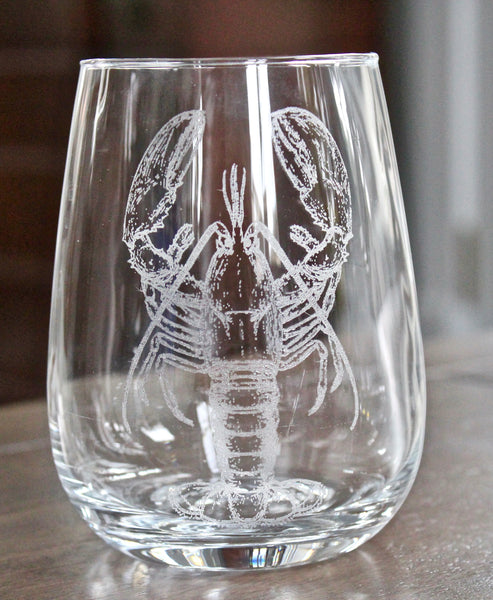 Lobster Engraved Rocks, Stemless Wine & Pint Glasses