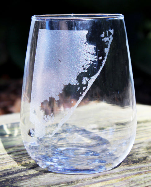 Long Beach Island Map - Engraved Rocks, Stemless Wine & Pint Glasses