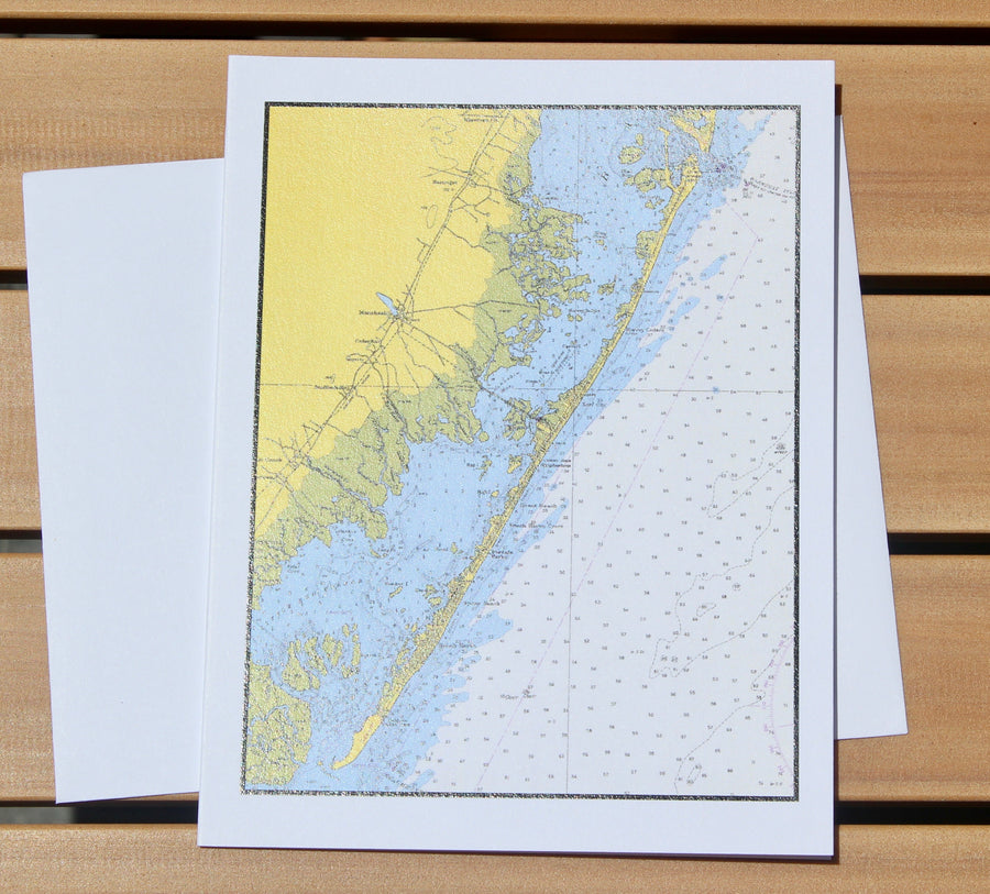 "Long Beach Island Map Notecards (1957) - 4.25""x5.5"""