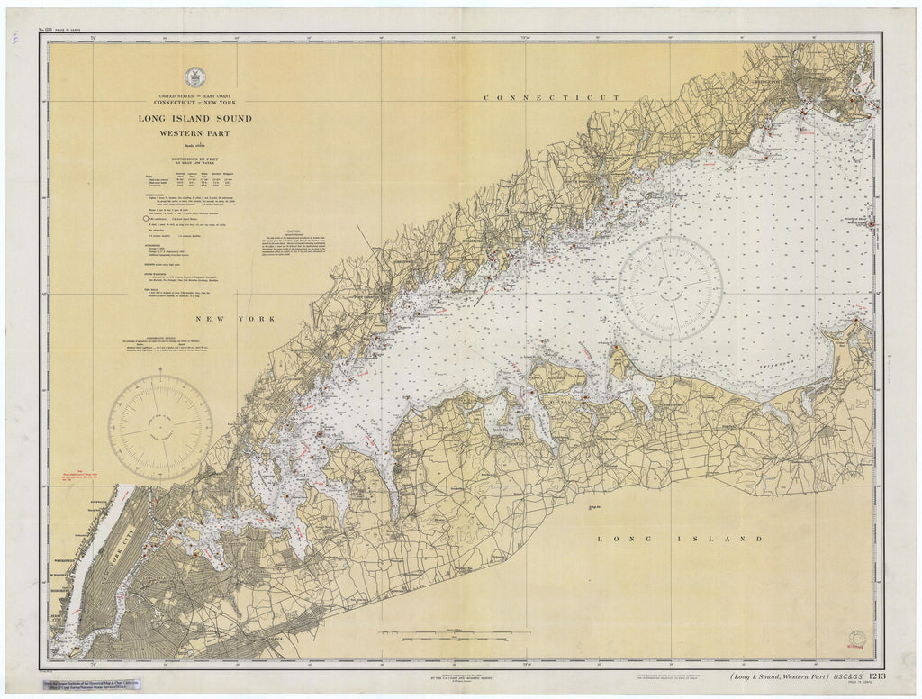 Long Island Sound (Western Part) Historical Map - 1934