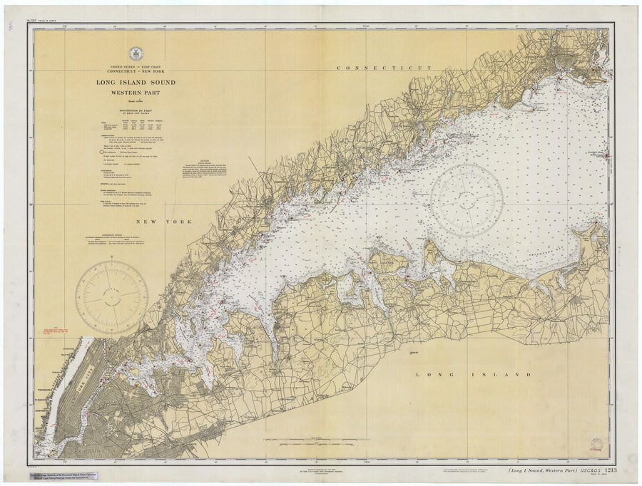 Long Island Sound (Western Part) Map - 1934