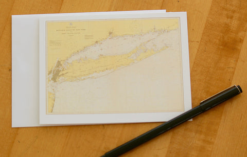 "Long Island Island Map Note Cards (1918) 4.25""x5.5"""