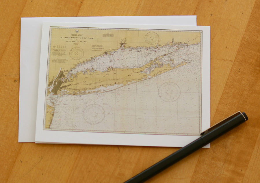 "Long Island Island Map Notecards (1934) 4.25""x5.5"""