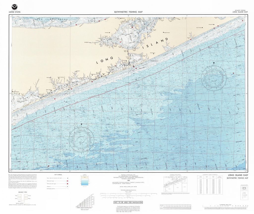 Long Island Bathymetric Fishing Map F75