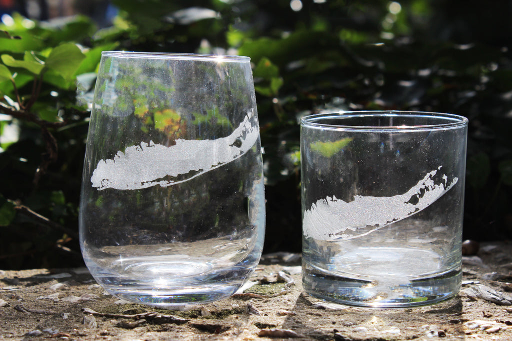 Long Island Map - Engraved Rocks, Stemless Wine & Pint Glasses
