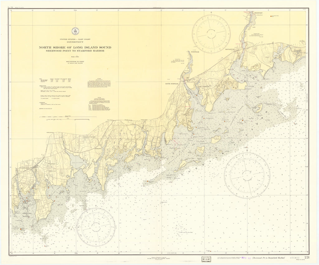 Long Island Sound (North Shore-Connecticut Coast) Map - 1937