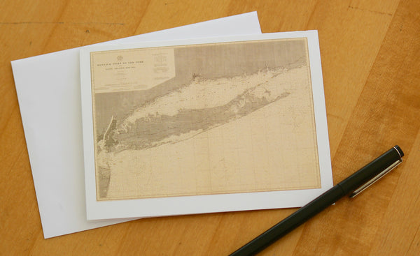 "Long Island Island Map Notecards (1899) 4.25""x5.5"""