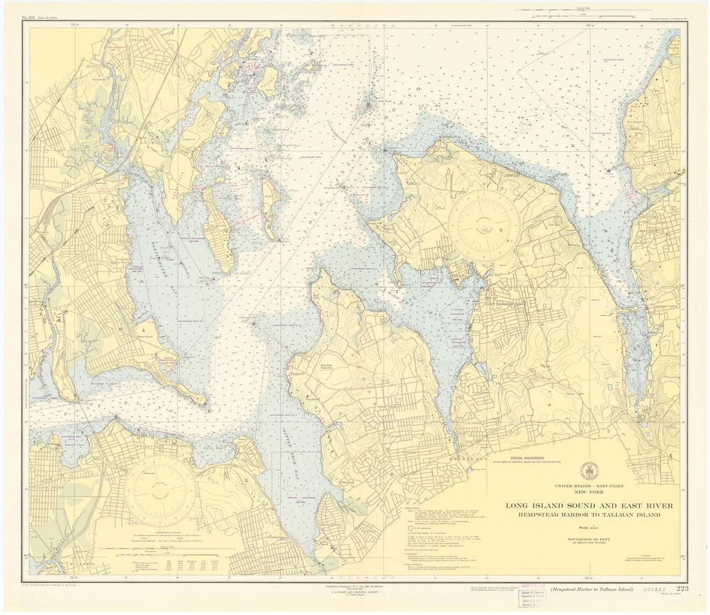 Long Island Sound and East River Historical Map - 1947