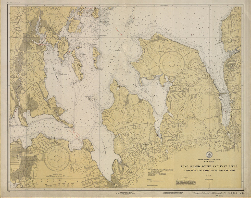 Long Island Sound and East River Historical Map - 1931