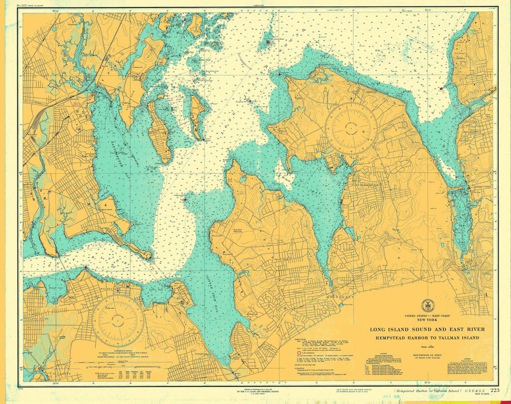 Long Island Sound and East River Historical Map - 1939