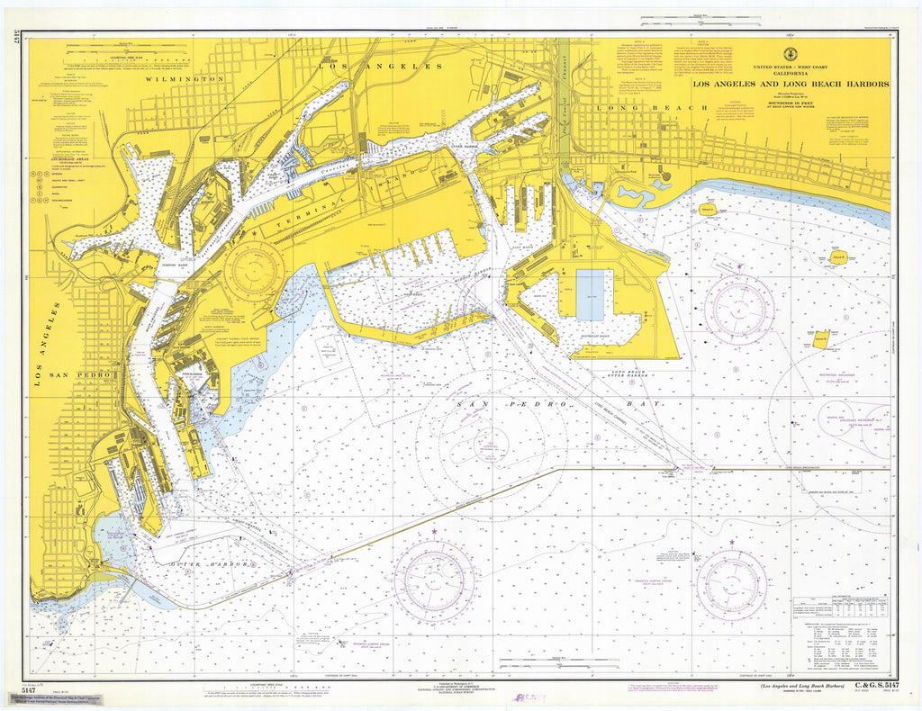 Los Angeles and Long Beach Harbors Map - 1971
