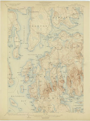 Mt. Desert Island Maine - Geographical Map 1904