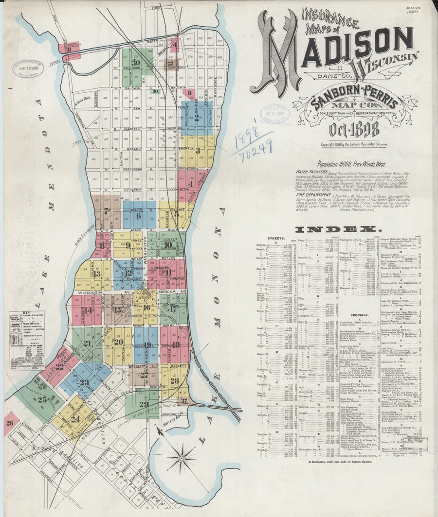 Madison Wisconsin Map - 1898