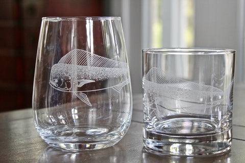 Dolphinfish (Mahi-mahi) - Engraved Rocks, Stemless Wine & Pint Glasses