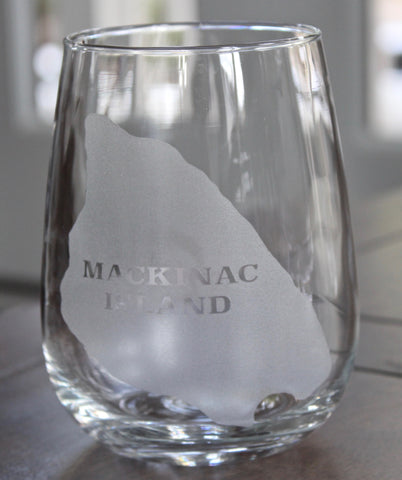 Mackinac Island Map - Engraved Rock, Stemless Wine & Pint Glasses