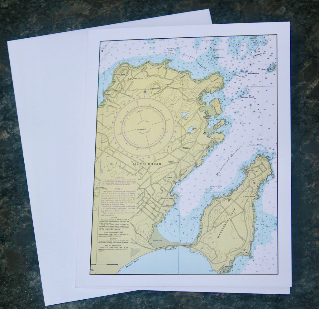 "Marblehead Map Notecards (4.25""x5.5"")"