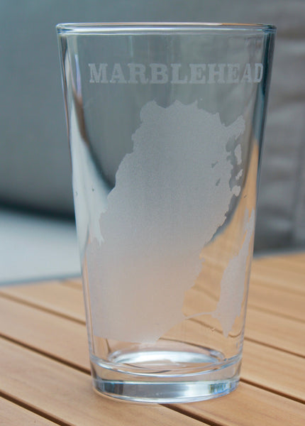Marblehead Map - Engraved Rocks, Stemless Wine & Pint Glasses