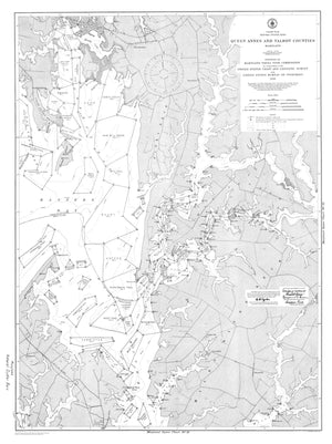Maryland Natural Oyster Bars Historical Map - 1909