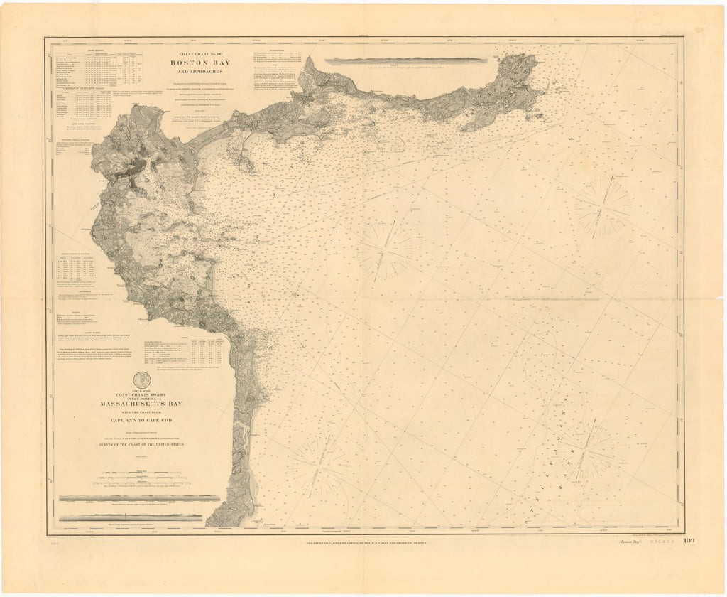 Boston Harbor & Massachusetts Bay Historical Map - 1898