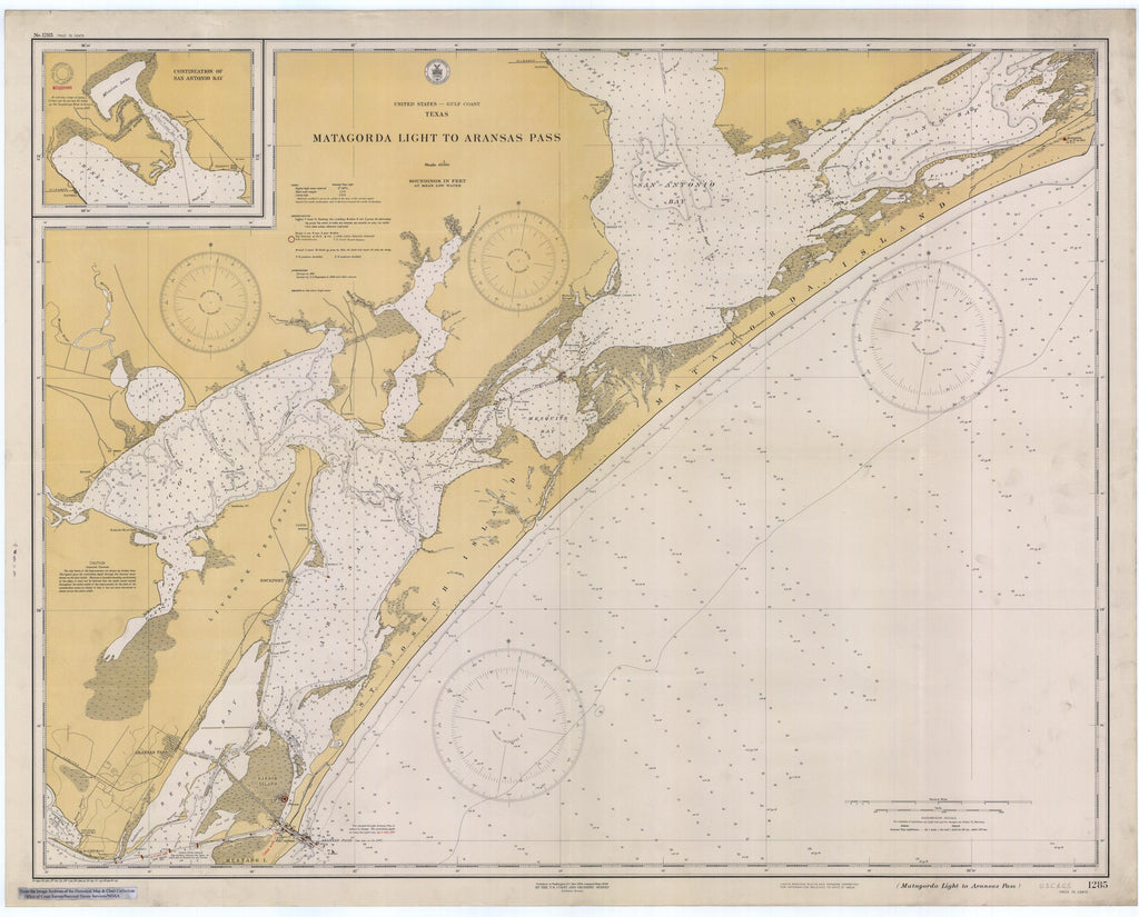 Matagorda Light to Aransas Map - 1934