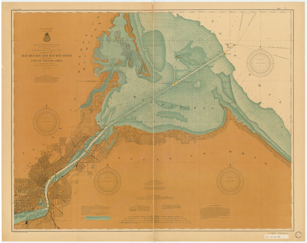 Maumee Bay and Maumee River Map - 1902