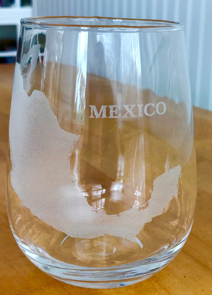 Mexico Map - Engraved Rocks & Stemless Wine Glasses