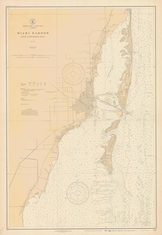 Miami Harbor and Approaches Map - 1927