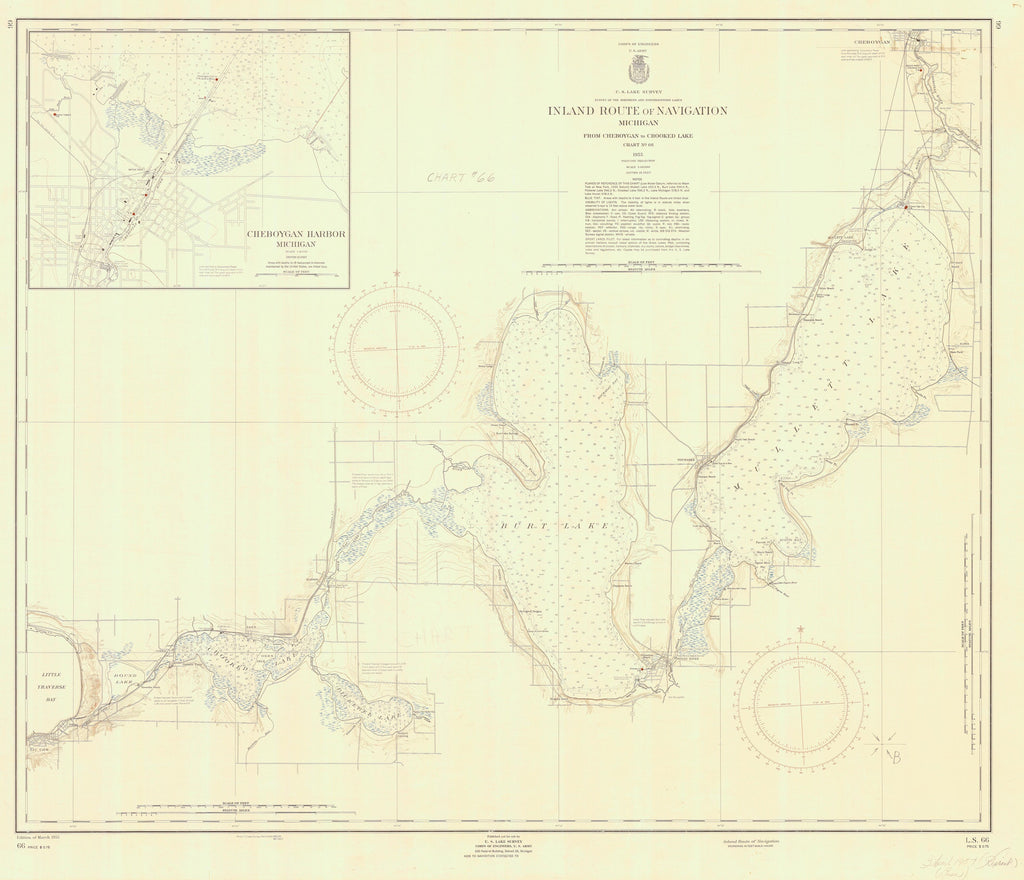 Michigan Inland Route of Navigation Map - 1955