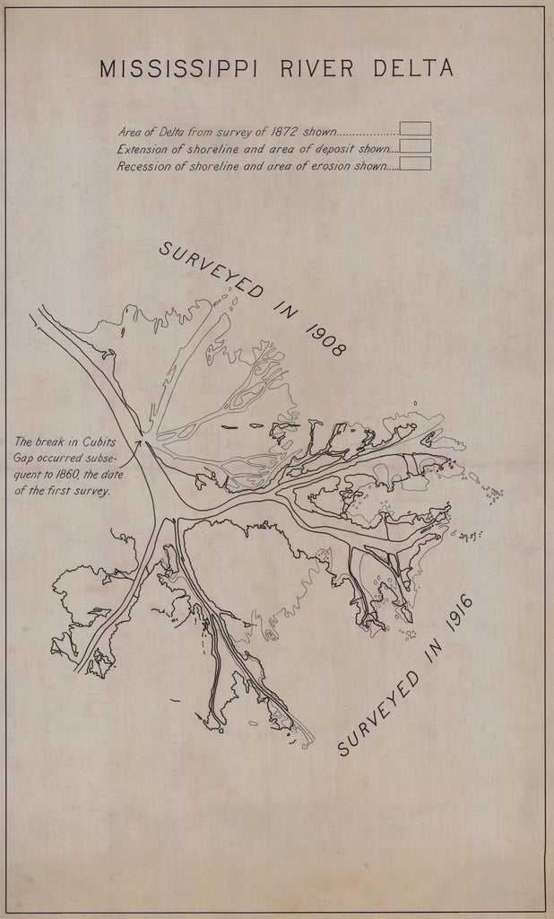Mississippi River Delta Map - 1916