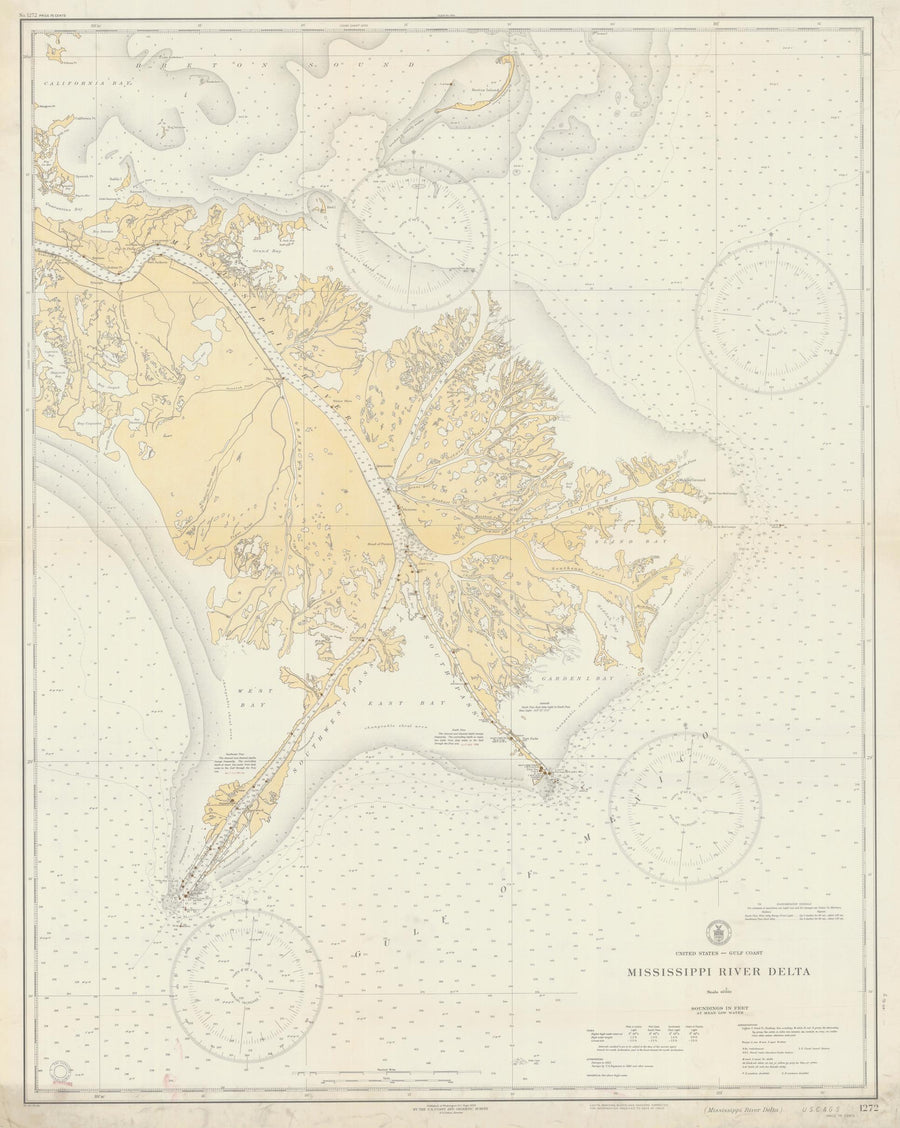 Mississippi River Delta Map - 1934