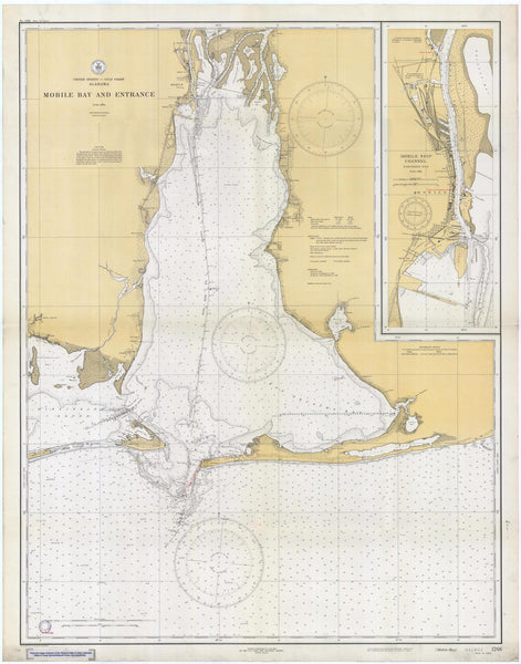 "Mobile Bay Map Note Cards (1933) 4.25""x5.5"""