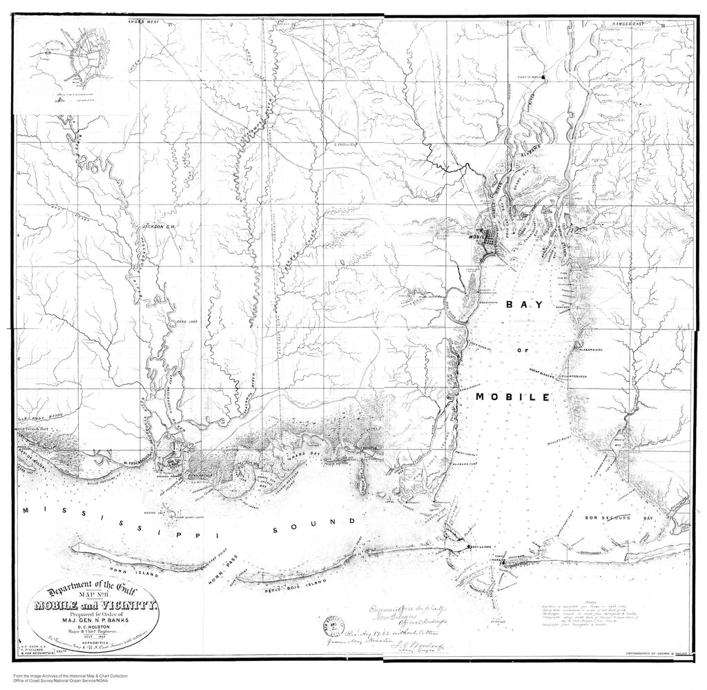 Mobile Bay - Gulf Shores Alabama - Historical Map - B&W