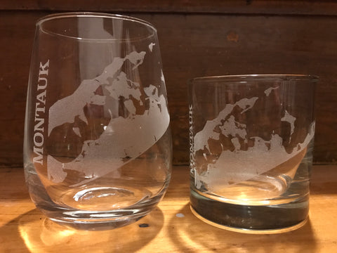 Montauk Map - Engraved Rocks, Stemless Wine & Pint Glasses