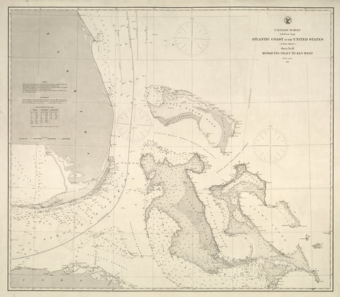 Mosquito Inlet to Key West (including Bahamas) Map - 1863