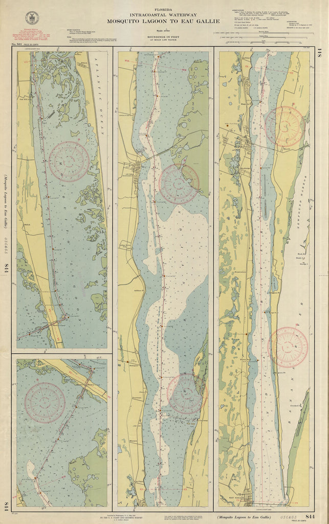 Mosquito Lagoon to Eau Gallie Map -1942