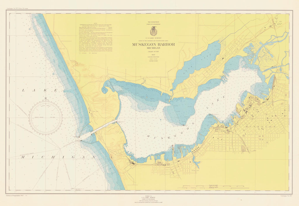 Lake Michigan - Muskegon Harbor Map 1947