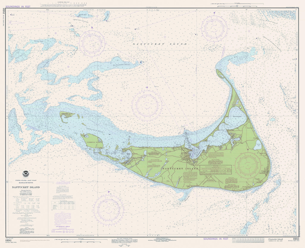 Nantucket Historical Map - 1977 (fun green)