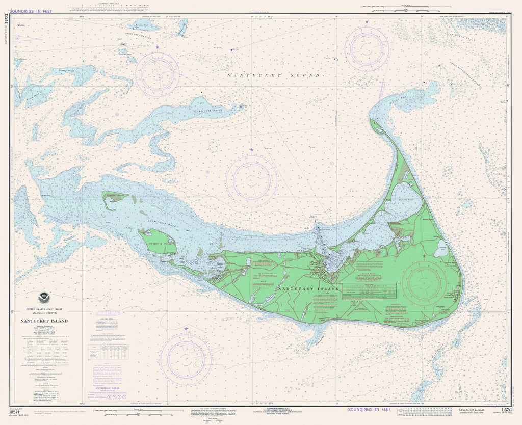 Nantucket Historical Map - 1977 (mint green)